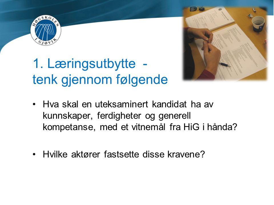 1. Læringsutbytte - tenk gjennom følgende