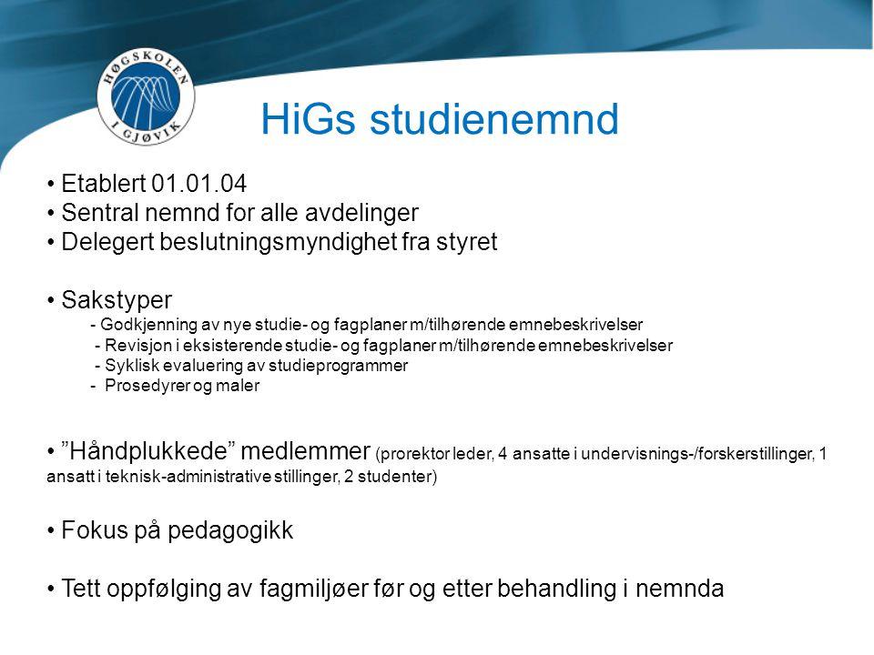 HiGs studienemnd Etablert 01.01.04 Sentral nemnd for alle avdelinger