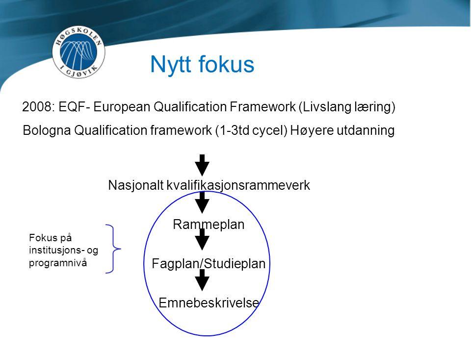 Nytt fokus 2008: EQF- European Qualification Framework (Livslang læring) Bologna Qualification framework (1-3td cycel) Høyere utdanning.