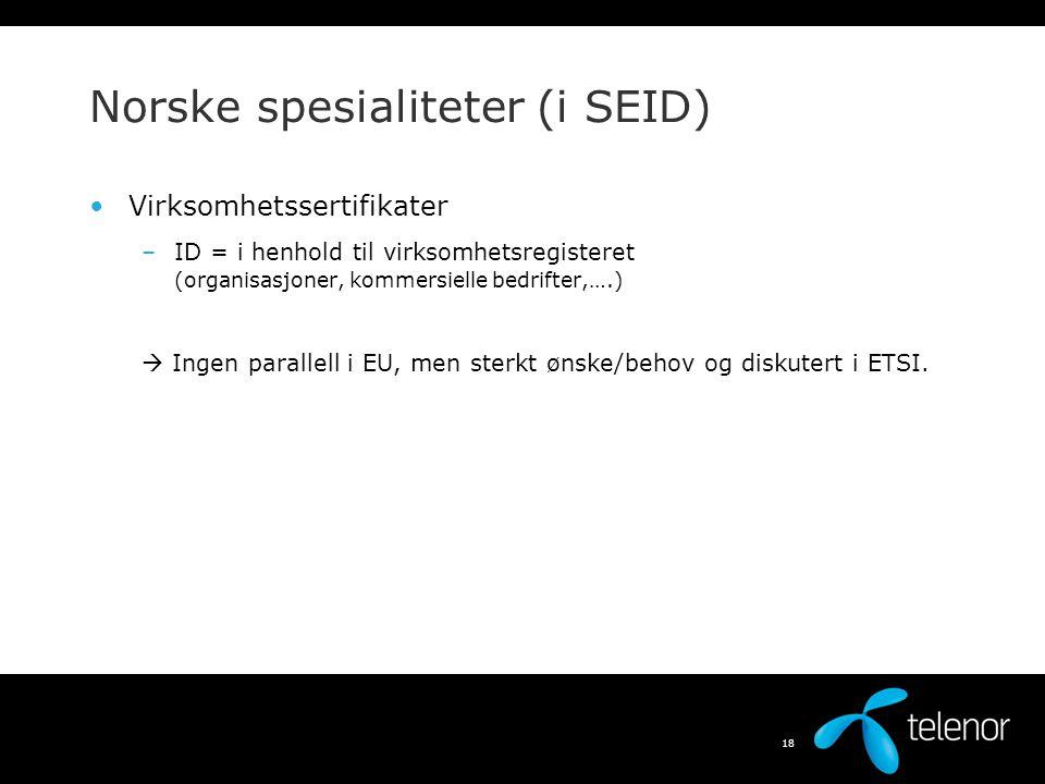 Norske spesialiteter (i SEID)