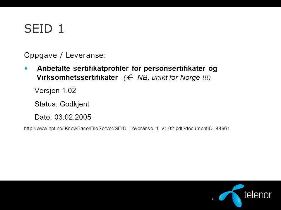 SEID 1 Oppgave / Leveranse: