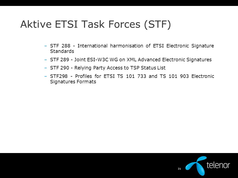 Aktive ETSI Task Forces (STF)