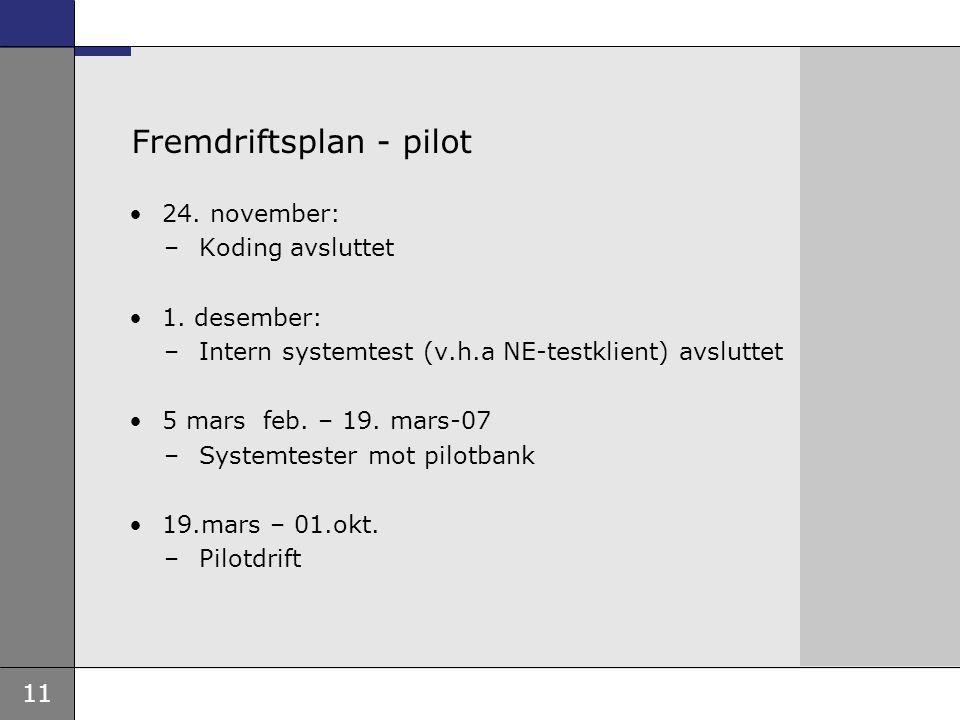 Fremdriftsplan - pilot