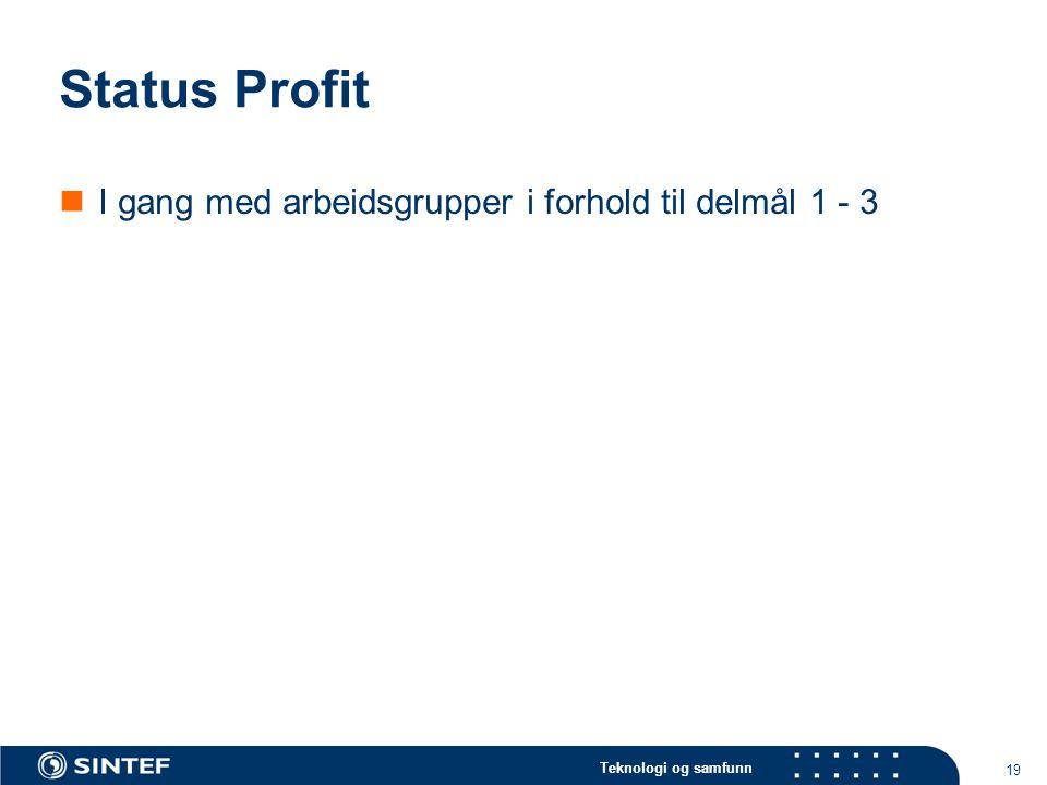 Status Profit I gang med arbeidsgrupper i forhold til delmål 1 - 3