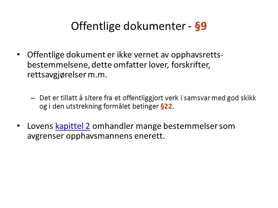 Offentlige dokumenter - §9