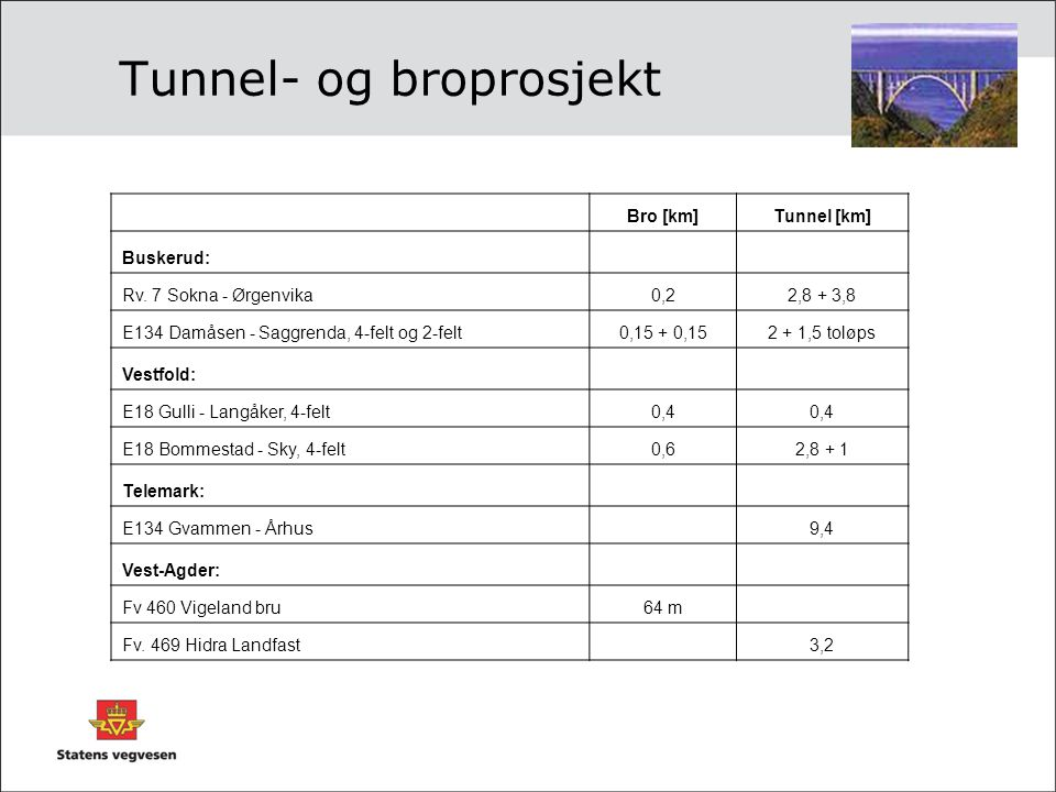 Tunnel- og broprosjekt