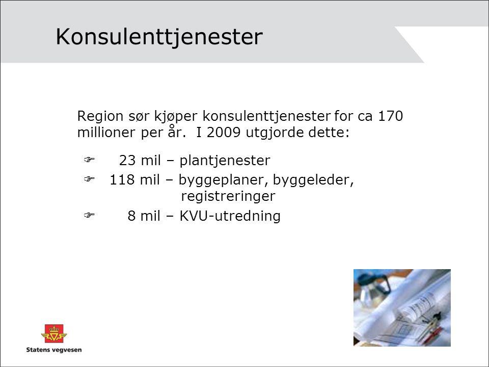 Konsulenttjenester Region sør kjøper konsulenttjenester for ca 170 millioner per år. I 2009 utgjorde dette: