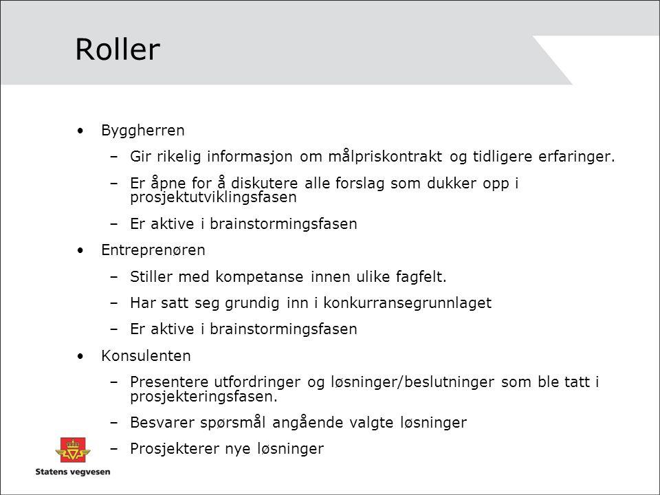 Roller Byggherren. Gir rikelig informasjon om målpriskontrakt og tidligere erfaringer.
