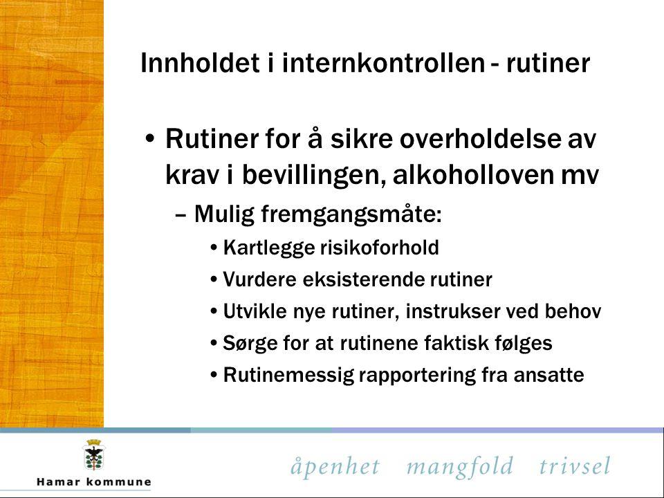 Innholdet i internkontrollen - rutiner