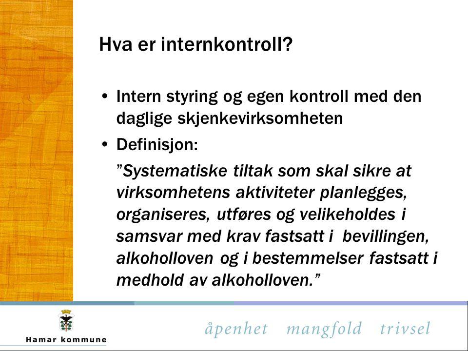 Hva er internkontroll Intern styring og egen kontroll med den daglige skjenkevirksomheten. Definisjon:
