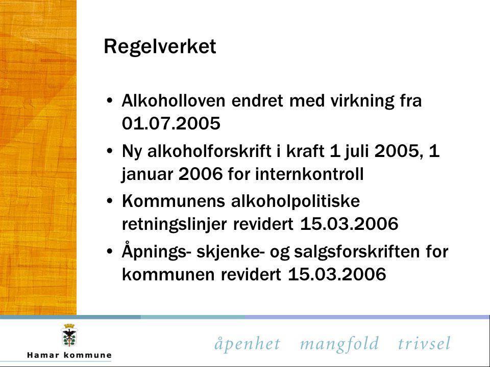 Regelverket Alkoholloven endret med virkning fra 01.07.2005