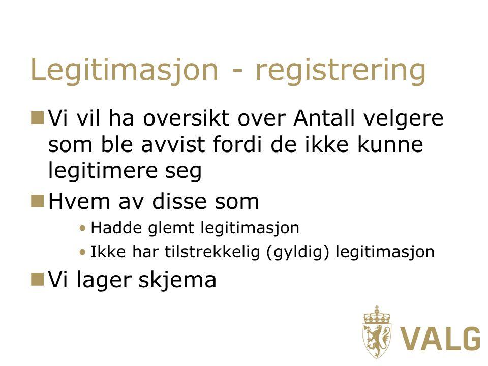 Legitimasjon - registrering