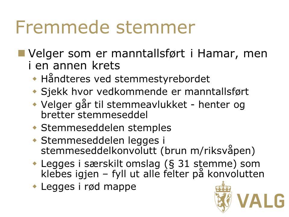 Fremmede stemmer Velger som er manntallsført i Hamar, men i en annen krets. Håndteres ved stemmestyrebordet.