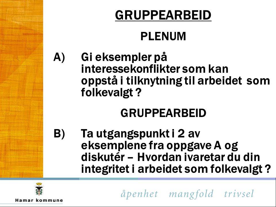 GRUPPEARBEID PLENUM. A) Gi eksempler på interessekonflikter som kan oppstå i tilknytning til arbeidet som folkevalgt