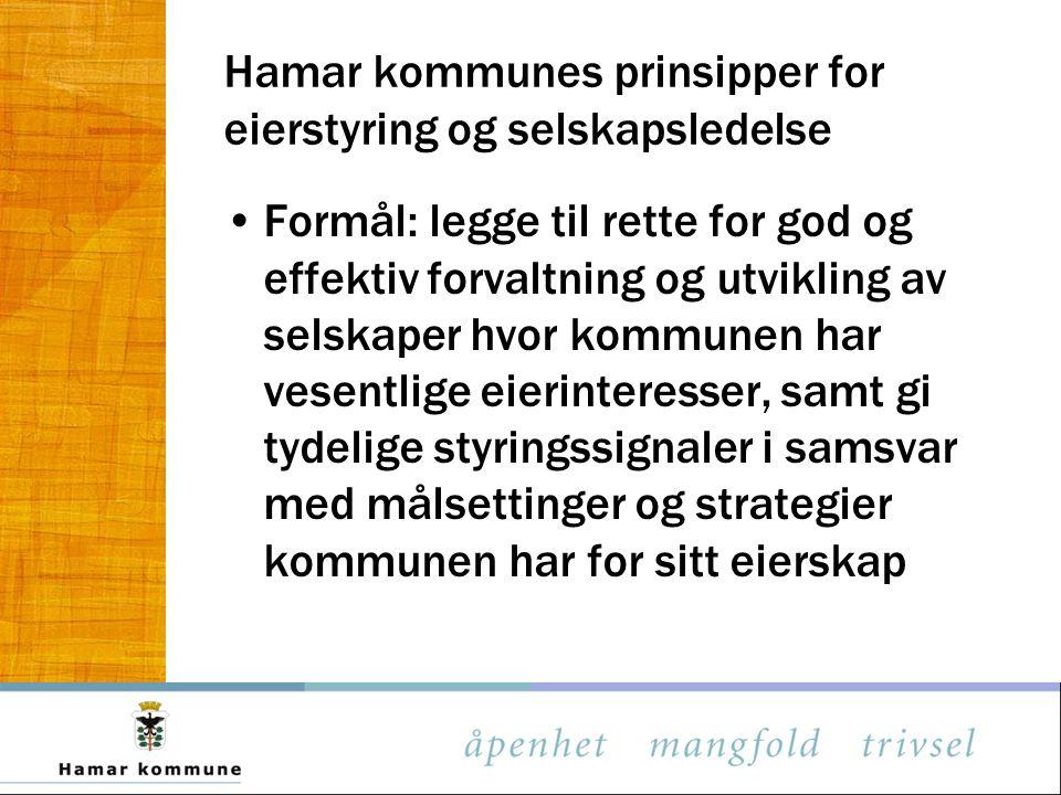 Hamar kommunes prinsipper for eierstyring og selskapsledelse
