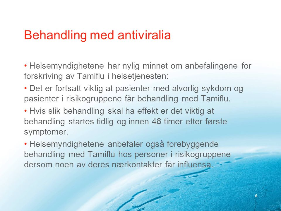 Behandling med antiviralia