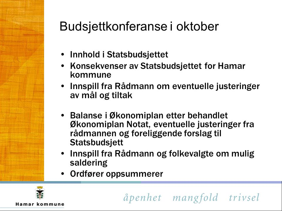 Budsjettkonferanse i oktober
