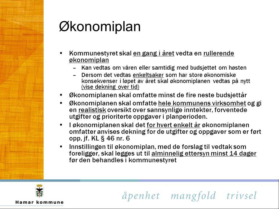 Økonomiplan Kommunestyret skal en gang i året vedta en rullerende økonomiplan. Kan vedtas om våren eller samtidig med budsjettet om høsten.