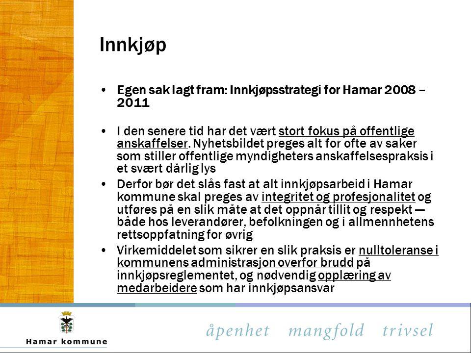 Innkjøp Egen sak lagt fram: Innkjøpsstrategi for Hamar 2008 – 2011