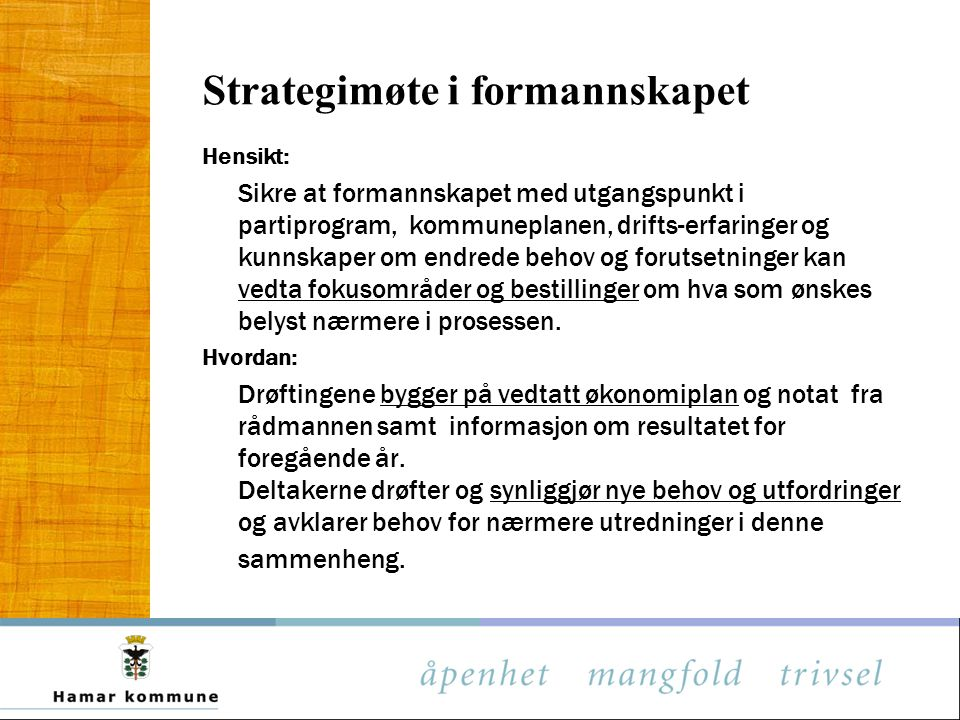 Strategimøte i formannskapet