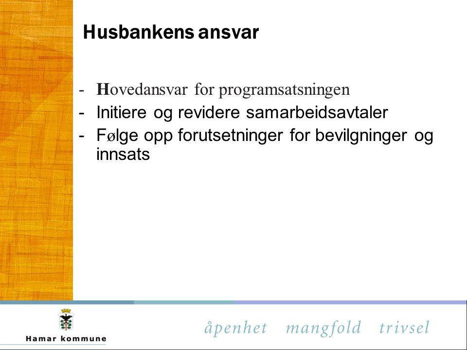 Husbankens ansvar Hovedansvar for programsatsningen