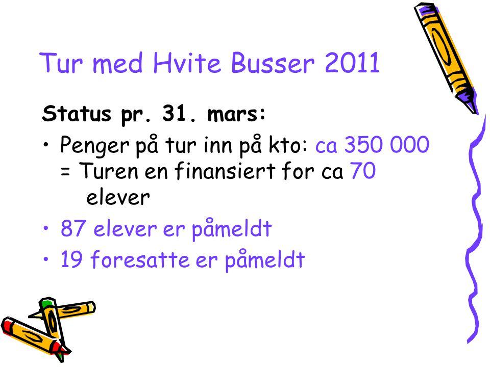 Tur med Hvite Busser 2011 Status pr. 31. mars: