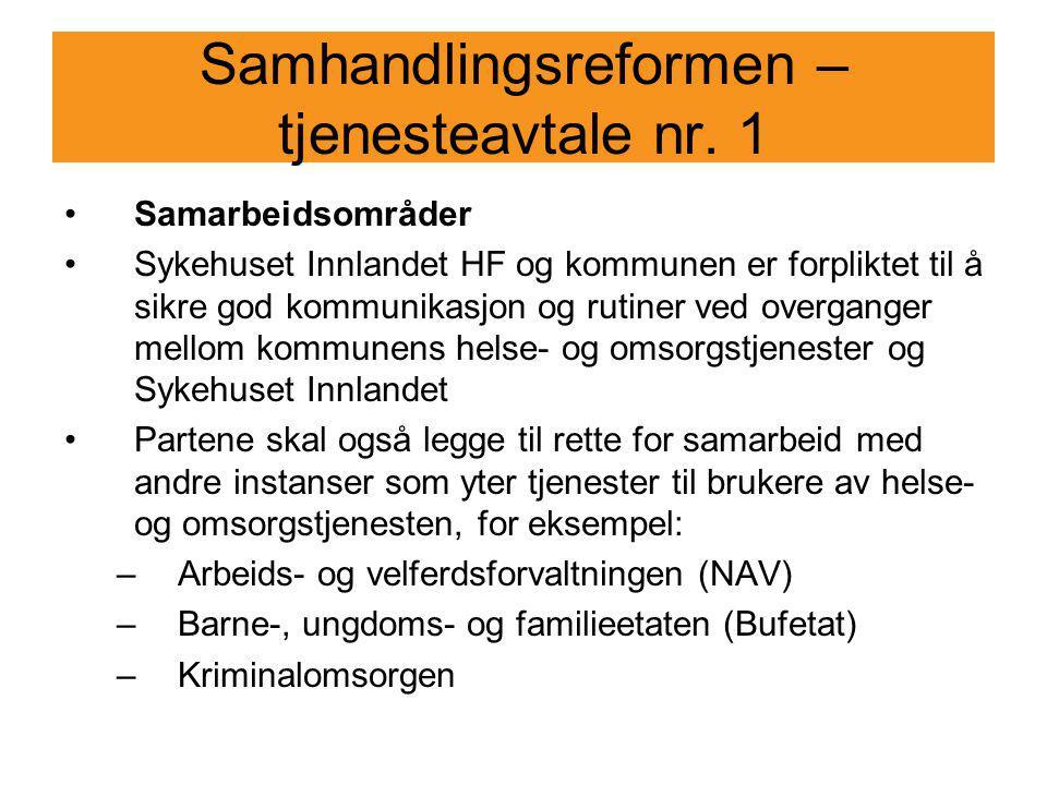 Samhandlingsreformen – tjenesteavtale nr. 1