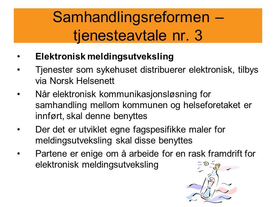 Samhandlingsreformen – tjenesteavtale nr. 3
