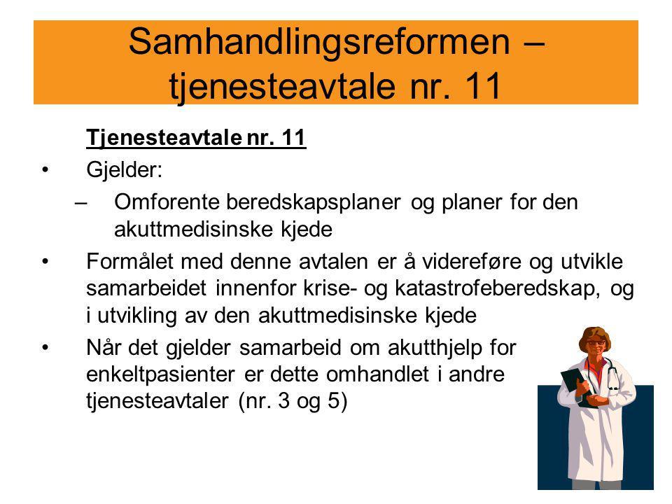 Samhandlingsreformen – tjenesteavtale nr. 11