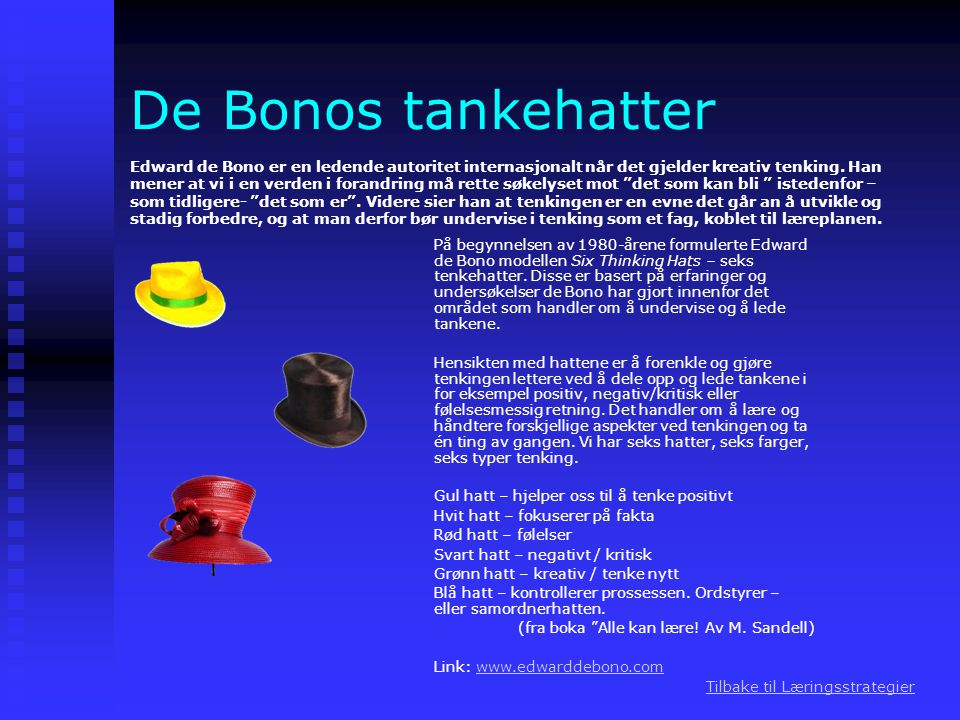 De Bonos tankehatter