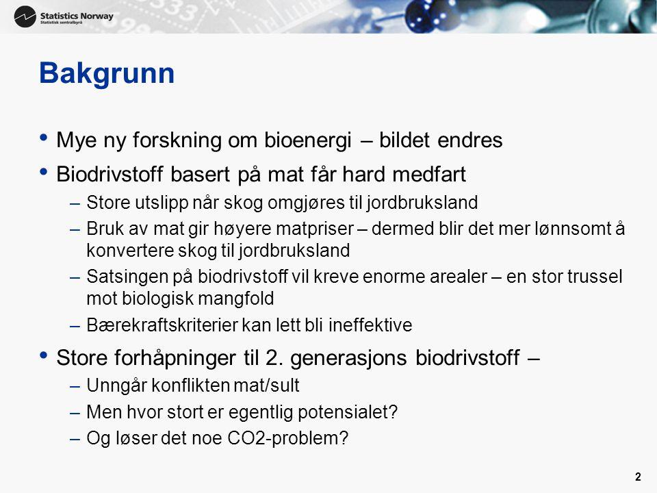 Bakgrunn Mye ny forskning om bioenergi – bildet endres