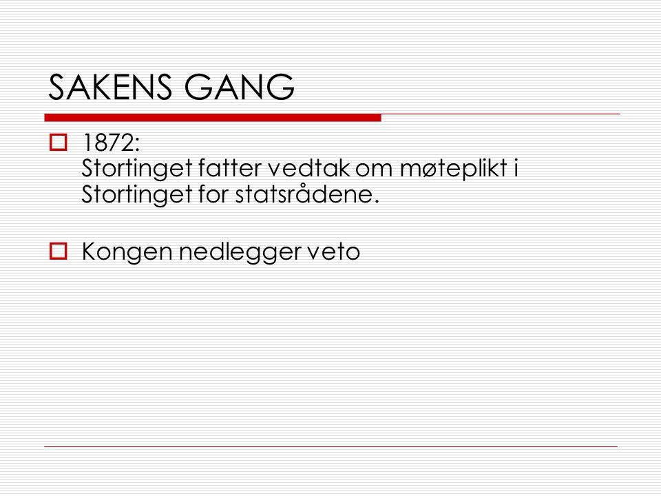 SAKENS GANG 1872: Stortinget fatter vedtak om møteplikt i Stortinget for statsrådene.