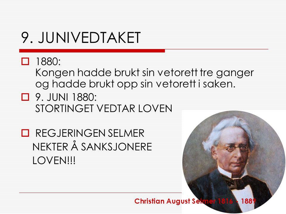 9. JUNIVEDTAKET 1880: Kongen hadde brukt sin vetorett tre ganger og hadde brukt opp sin vetorett i saken.