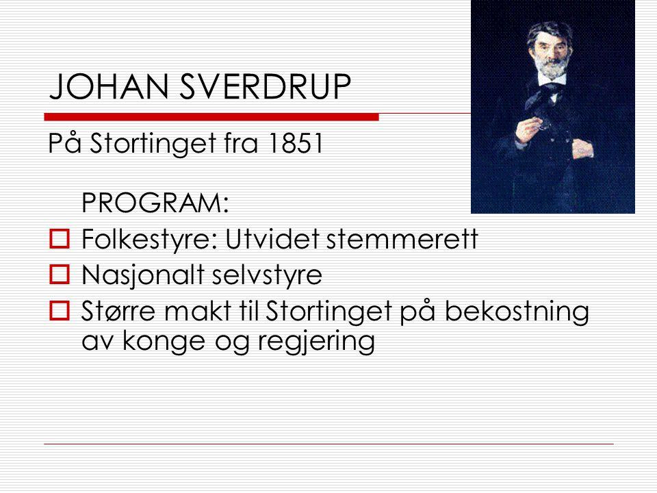 JOHAN SVERDRUP På Stortinget fra 1851 PROGRAM: