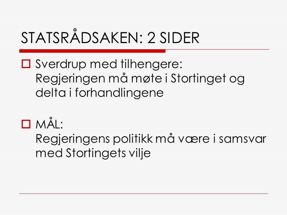 STATSRÅDSAKEN: 2 SIDER Sverdrup med tilhengere: Regjeringen må møte i Stortinget og delta i forhandlingene.