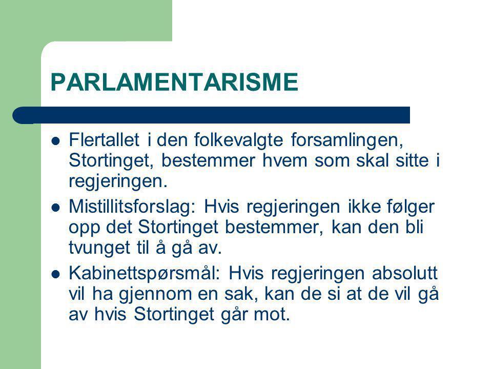 PARLAMENTARISME Flertallet i den folkevalgte forsamlingen, Stortinget, bestemmer hvem som skal sitte i regjeringen.