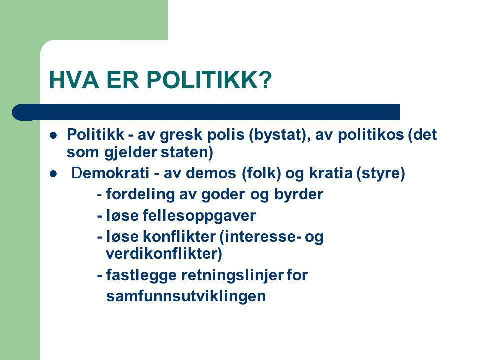 HVA ER POLITIKK Politikk - av gresk polis (bystat), av politikos (det som gjelder staten) Demokrati - av demos (folk) og kratia (styre)