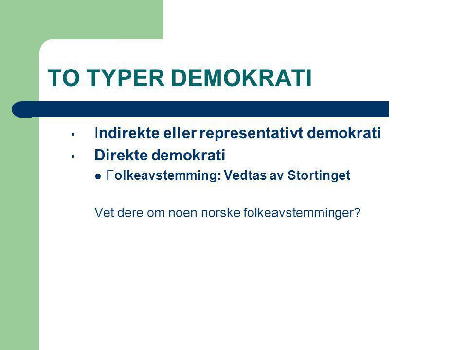TO TYPER DEMOKRATI Indirekte eller representativt demokrati