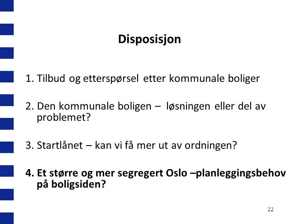 Disposisjon 1. Tilbud og etterspørsel etter kommunale boliger