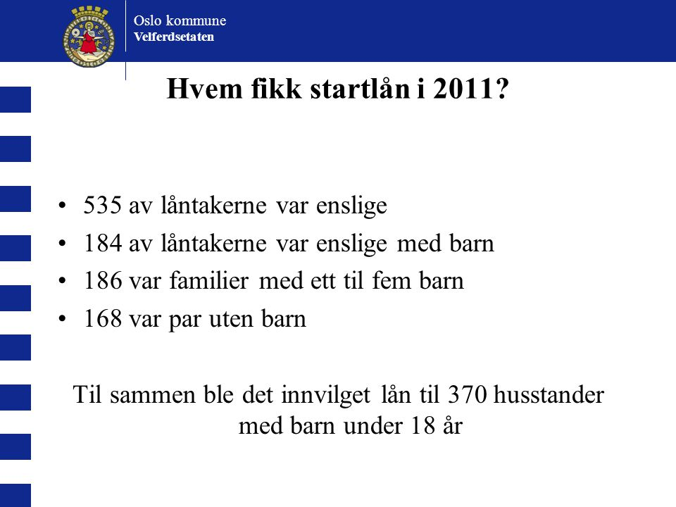 Hvem fikk startlån i 2011 535 av låntakerne var enslige