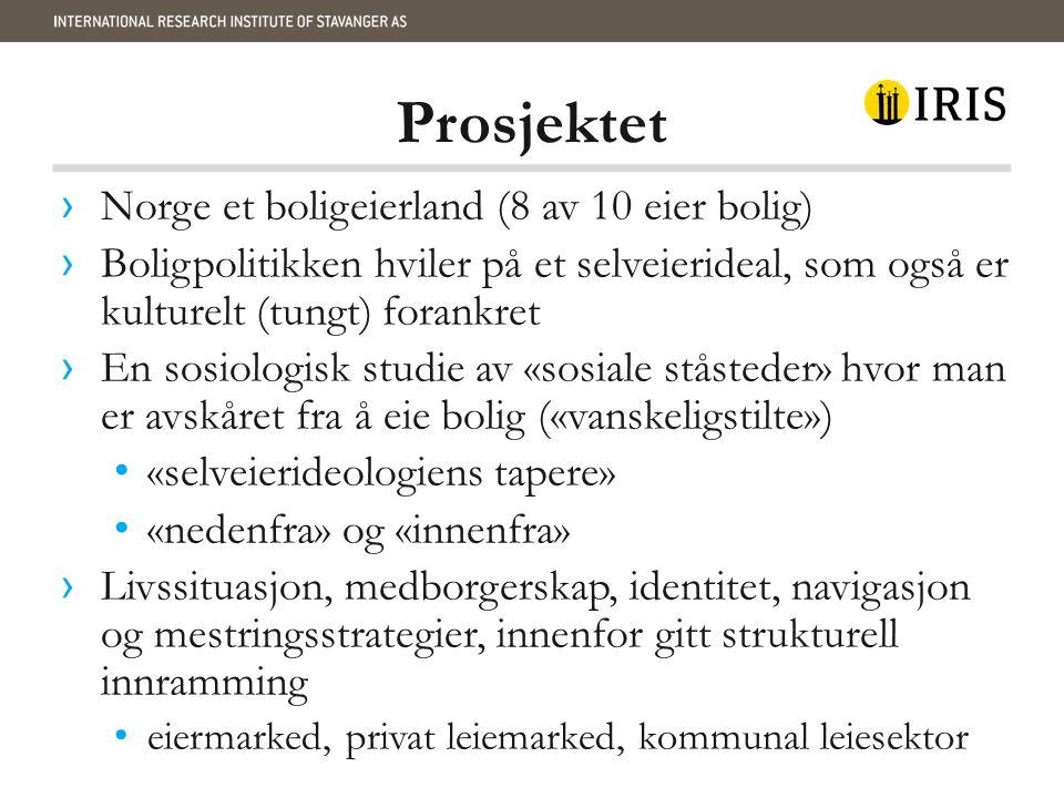 Prosjektet Norge et boligeierland (8 av 10 eier bolig)