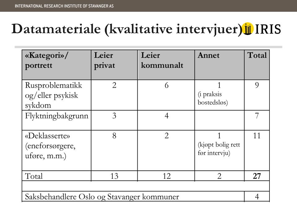 Datamateriale (kvalitative intervjuer)