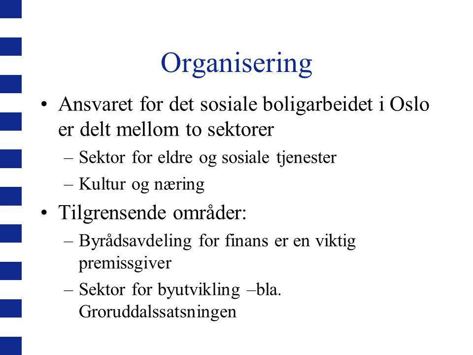 Organisering Ansvaret for det sosiale boligarbeidet i Oslo er delt mellom to sektorer. Sektor for eldre og sosiale tjenester.