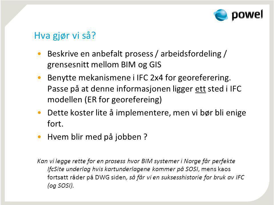 Hva gjør vi så Beskrive en anbefalt prosess / arbeidsfordeling / grensesnitt mellom BIM og GIS.