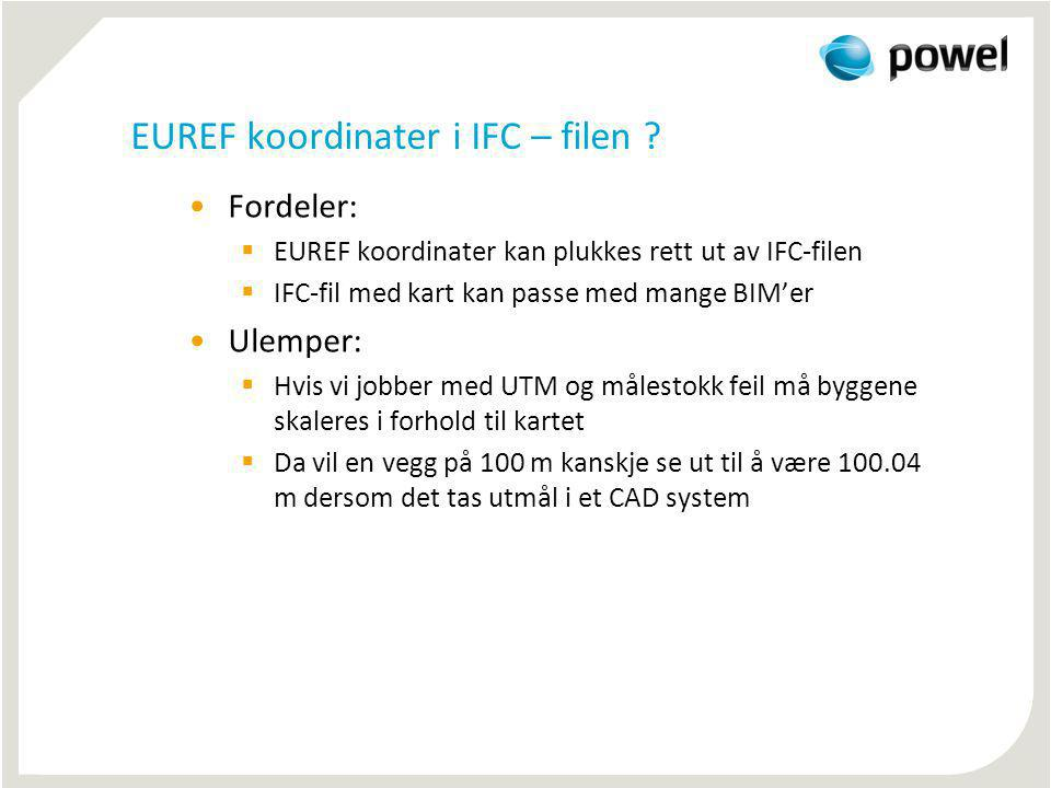 EUREF koordinater i IFC – filen
