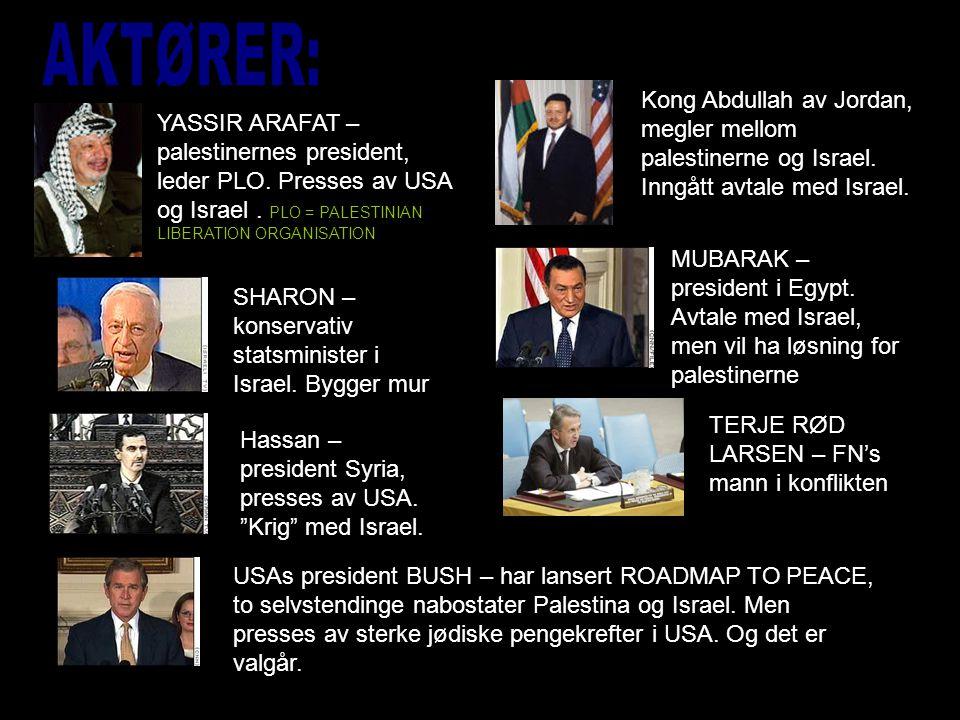 AKTØRER: Kong Abdullah av Jordan, megler mellom palestinerne og Israel. Inngått avtale med Israel.
