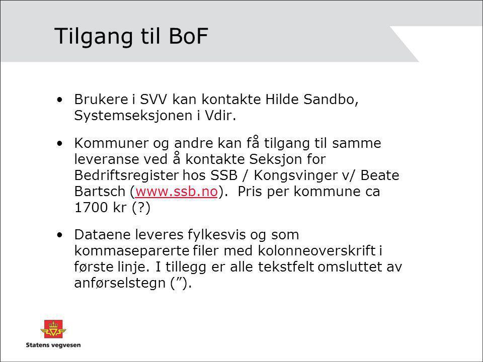 Tilgang til BoF Brukere i SVV kan kontakte Hilde Sandbo, Systemseksjonen i Vdir.