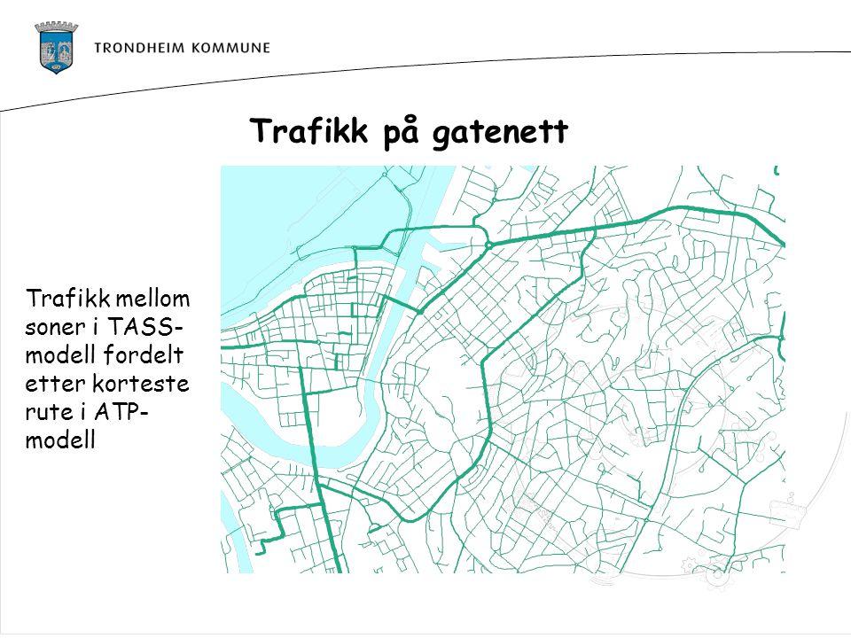 Trafikk på gatenett Trafikk mellom soner i TASS-modell fordelt etter korteste rute i ATP-modell