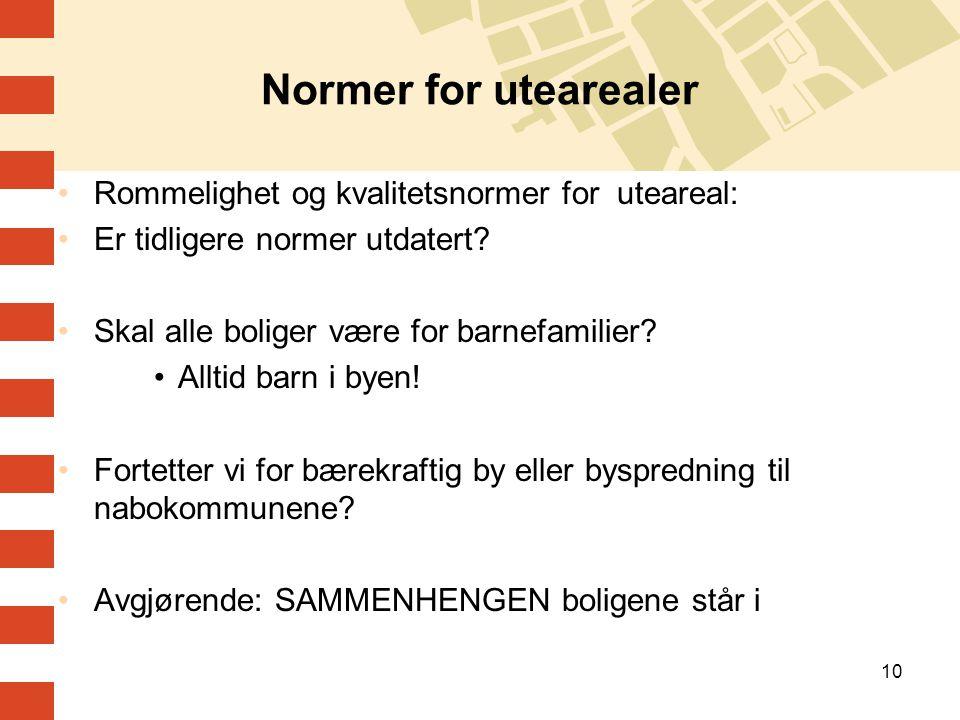 Normer for utearealer Rommelighet og kvalitetsnormer for uteareal: