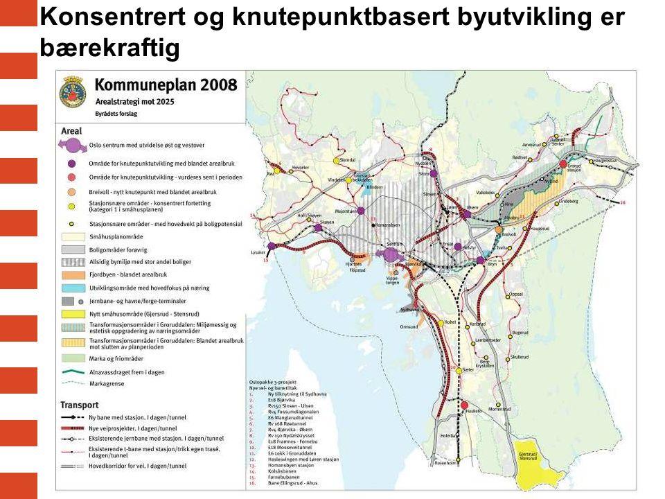 Konsentrert og knutepunktbasert byutvikling er bærekraftig
